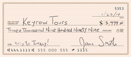payment methods Sample Check to Keyrow Tours
